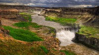 The waterfall Hafragilsfoss in Northern Iceland