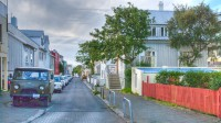 Lokastígur, a small street, in Reykjavik, Iceland