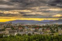 Sunset view from Reykjavik toward Mt. Akrafjall and Hvalfjörður