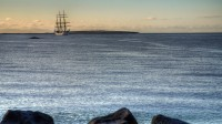 Gorch Fock out-side Reykjavik harbor with Videy in the background
