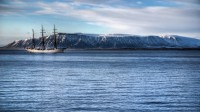 Gorch Fock out-side Reykjavik harbor with mt. Esja in the background