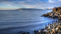 Gorch Fock out-side Reykjavik harbor with mt. Akrafjall in the background seen from Reykjavik