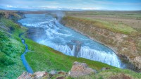 Grand view over the golden waterfall Gullfoss in Southern Iceland photo by karl magnusson