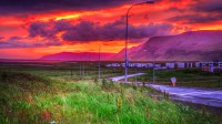 Sunset over mt. Esja and mt. Akrafjall seen from Mosfellsbæ in Western Iceland photo by karl magnusson