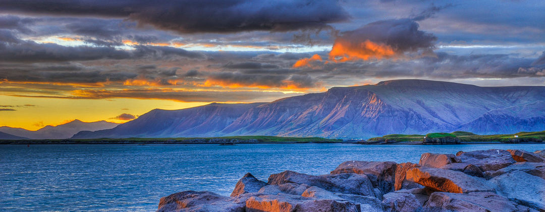 Mt. Esja in the sunset seen from Reykjavik, Iceland photo by karl magnusson