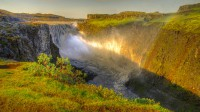 View over the waterfall Dettifoss in NorthEast Iceland