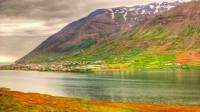 The town Ólafsfjörður in the fjord of Ólafsfjörður in Northern Iceland photo by karl magnusson