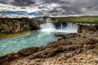 View over the waterfall Goðafoss in Northern Iceland
