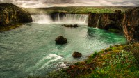 The waterfall Goðafoss in NorthEast Iceland