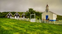 Old turf house and the the church at Hrafnseyri in Arnarfjörður in Westfjords of Iceland photos by karl magnusson