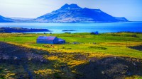 View over Trékyllisvik and Norðurfjörður with mr. Krossnessfjall, Strandir in Westfjords of Iceland photos by karl magnusson